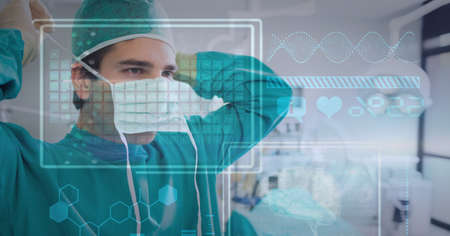 Digital interface with medical data processing against male surgeon wearing face mask. medical research and technology concept