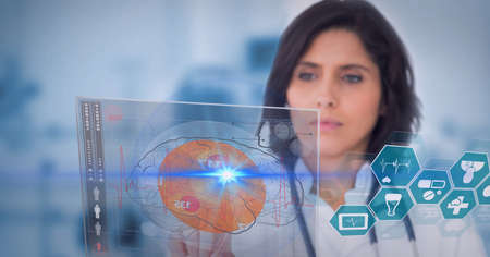 Mid section of male doctor touching screen with human brain icon and medical data processing. medical research and technology concept