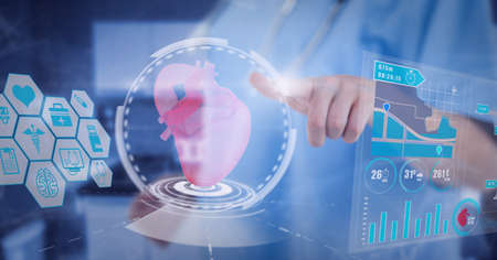 Mid section of health worker touching screen with human heart icon and medical data processing. medical research and technology concept