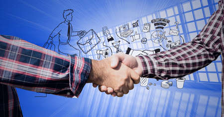 Composition of businessmen shaking hands with business icons on blue background. global finance, business and connection concept digitally generated image.