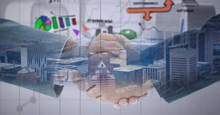 Composition of businessmen shaking hands with financial data and cityscape. global finance, business and connection concept digitally generated image. Standard-Bild