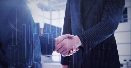 Animation of financial data processing over midsection of businessmen shaking hands. global finance, business and connection concept digitally generated image.