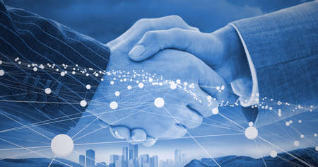 Composition of businessmen shaking hands with network of connections. global finance, business and connection concept digitally generated image.