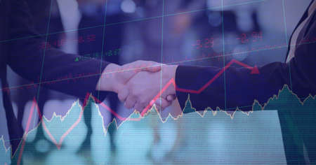 Composition of businesswomen shaking hands with financial data processing. global finance, business and connection concept digitally generated image. Standard-Bild