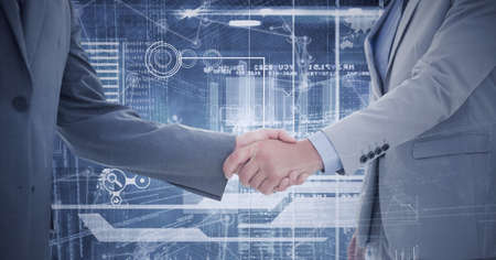 Composition of businessman and businesswoman shaking hands with financial data processing. global finance, business and connection concept digitally generated image.