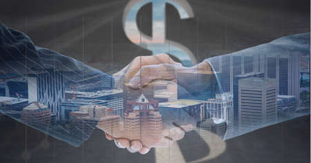 Composition of businessmen shaking hands with american dollar symbol and cityscape. global finance, business and connection concept digitally generated image. Standard-Bild
