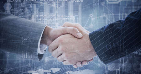 Composition of businessman and businesswoman shaking hands with network of connections and cityscape. global finance, business and connection concept digitally generated image.