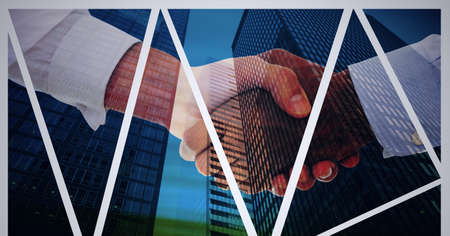 Composition of businessmen shaking hands with blue lines and modern office buildings cityscape. global finance, business and connection concept digitally generated image.