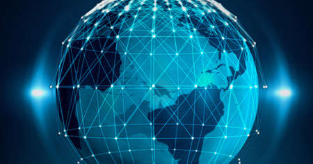 Composition of network of connections with glowing spots over globe on blue background. global connection, communication and networking concept digitally generated image.