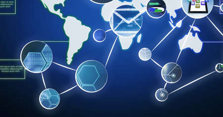 Network of digital icons over world map against blue background. global networking and computer interface technology concept
