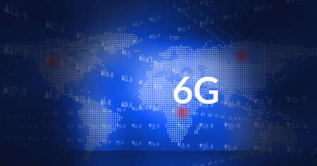 Composition of 6g text and data processing over world map on blue background. global networks, communication and technology concept digitally generated image.