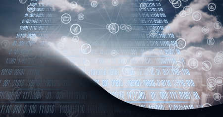 Composition of icons and binary coding over clouds, cityscape and grey background. global connections, technology and digital interface concept digitally generated image.