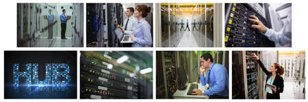 Composite of eight images with processors and technicians in tech room maintaining computer servers. global data processing, computing and technology concept digitally generated image. Reklamní fotografie