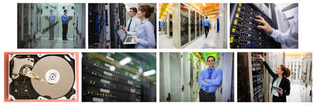 Composite of eight images with processors and technicians in tech room maintaining computer servers. global data processing, computing and technology concept digitally generated image.