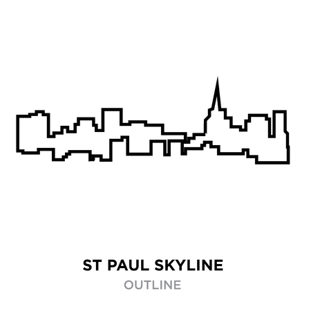st Paul skyline outline on white background, vector illustration