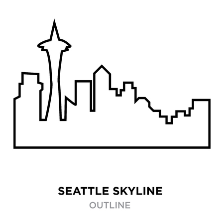 seattle skyline outline on white background, vector illustration