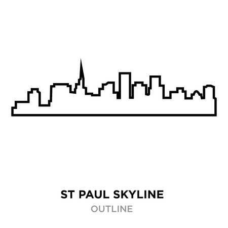 st paul skyline outline on white background, vector illustration