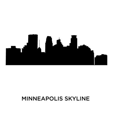 minneapolis skyline on white background, vector illustration