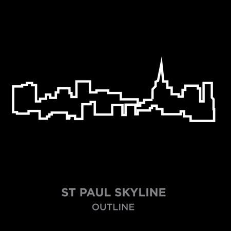 white border st paul skyline outline on black background, vector illustration