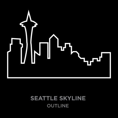 white border seattle skyline outline on black background, vector illustration
