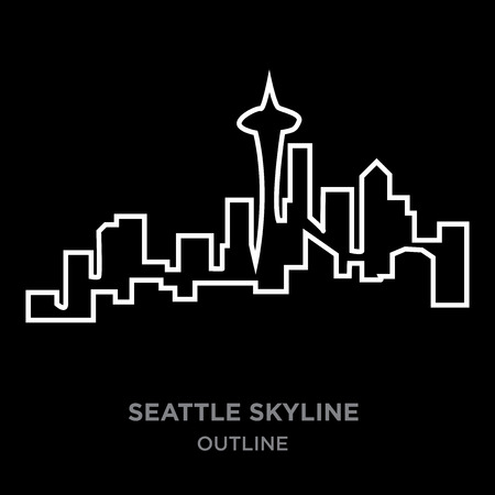 white border seattle skyline outline on black background, vector illustration