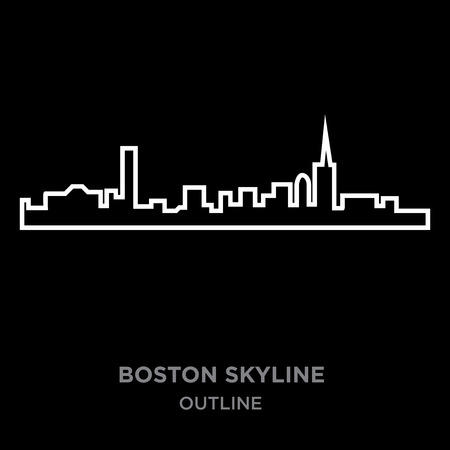 white border boston skyline outline on black background, vector illustration