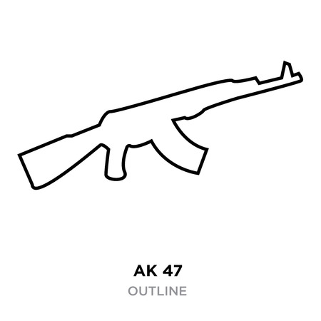 ak47 outline on white background, vector illustration Illustration