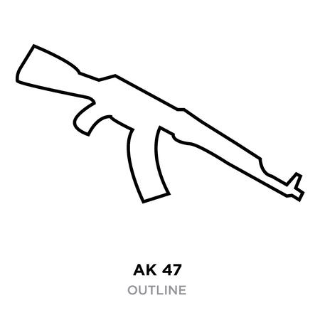 ak47 outline on white background, vector illustration  イラスト・ベクター素材