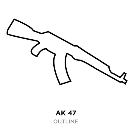 ak47 outline on white background, vector illustration Vettoriali