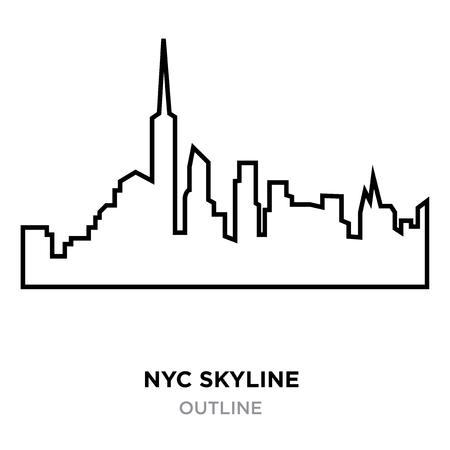 nyc skyline outline on white background, vector illustration