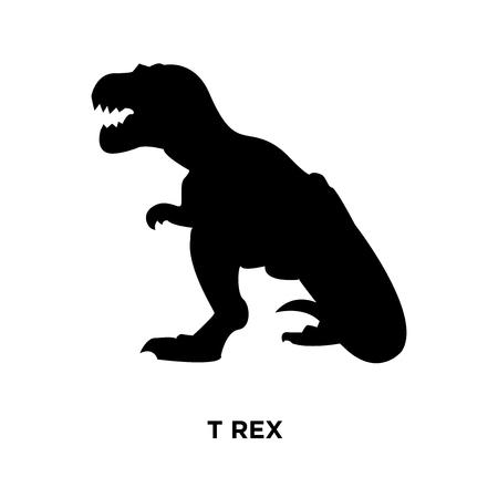 t rex silhouette on white background, vector illustration Vector Illustration
