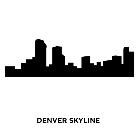 A Denver skyline silhouette on white background, vector illustration Çizim
