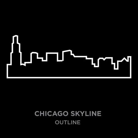 A white border Chicago skyline outline on black background, vector illustration
