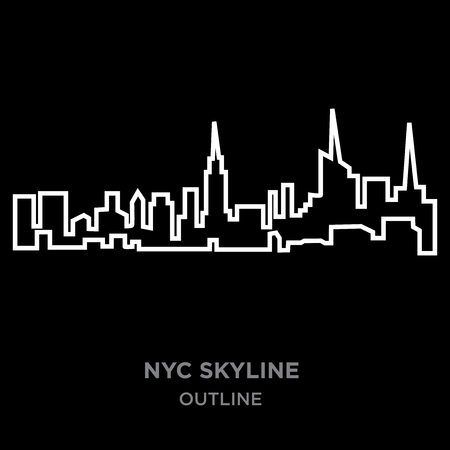 white border nyc skyline outline on black background, vector illustration