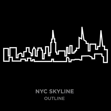 white border nyc skyline outline on black background, vector illustration