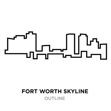 A fort worth skyline outline on white background, vector illustration 矢量图片