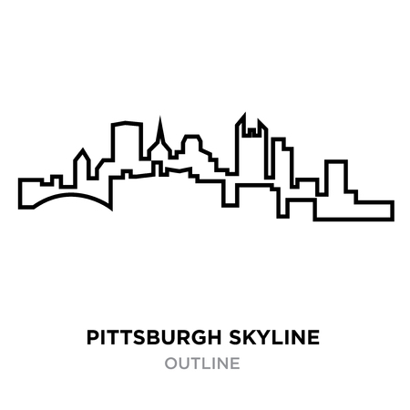 A Pittsburgh skyline outline on white background, vector illustration  イラスト・ベクター素材