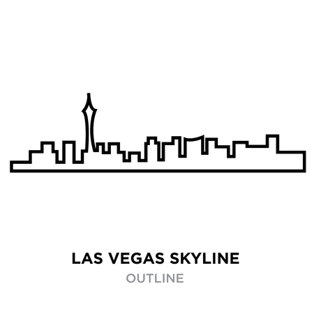 A Las Vegas skyline outline on white background, vector illustration