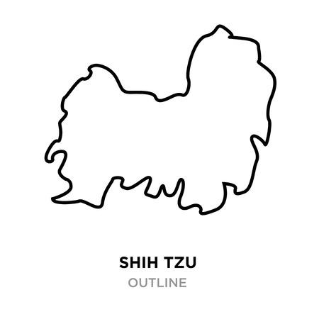 A shih tzu outline on white background, vector illustration Vector Illustration