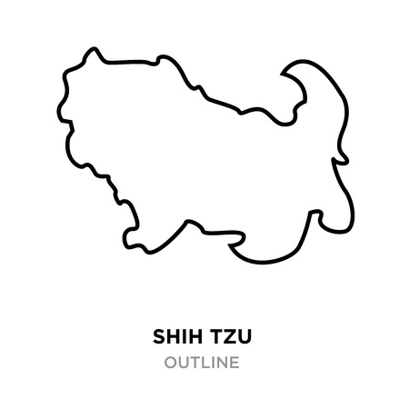 A shih tzu outline on white background, vector illustration  イラスト・ベクター素材