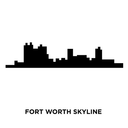 A fort worth skyline silhouette on white background, vector illustration 矢量图片