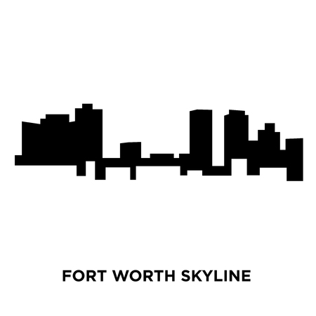A fort worth skyline silhouette on white background, vector illustration Illustration