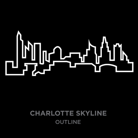 A white border Charlotte skyline outline on black background, vector illustration Stock Illustratie