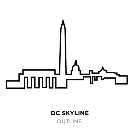 A DC skyline outline on white background, vector illustration