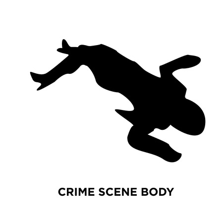 A crime scene body silhouette on white background, vector illustration Vectores