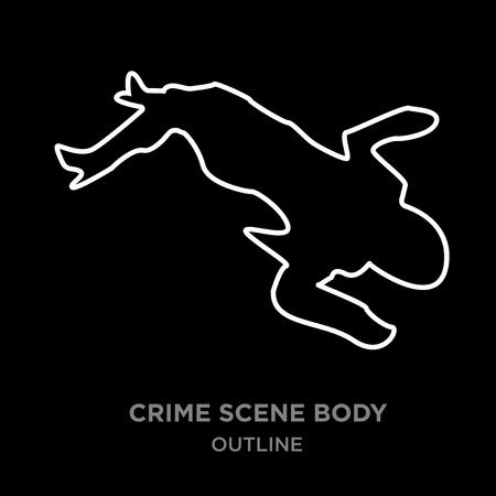 A white border crime scene body outline on black background, vector illustration