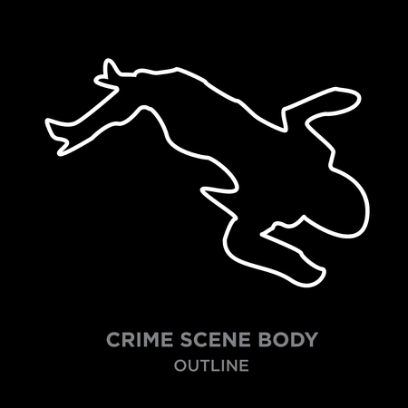 A white border crime scene body outline on black background, vector illustration Illustration