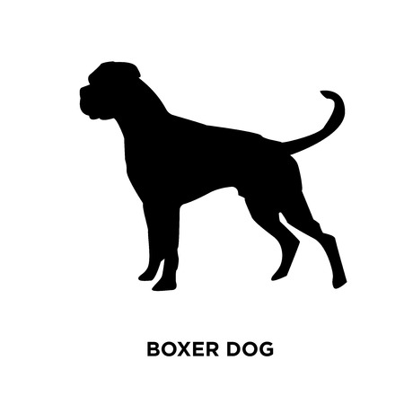 A boxer dog silhouette on white background, vector illustration Vectores