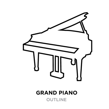 A grand piano outline on white background, vector illustration