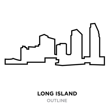 A long island outline on white background, vector illustration